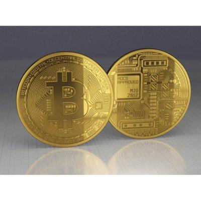 سکه روکش طلایی بیت کوین همراه با جعبه شیک